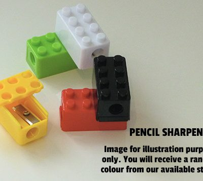 lego brick pencil sharpener in blue, green, yellow, red, black or white