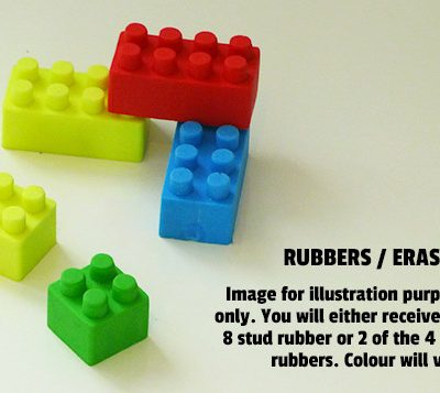 lego brick rubbers in blue, green, yellow and red.