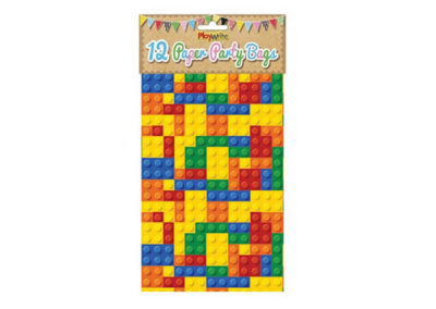 Brick Party Bags with Building Block Pattern (12 Pack)