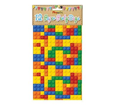 brick party bags in paper with a Lego themed print in bright colours.