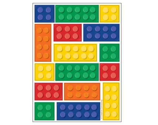 brick stickers sheet of colourful building block stickers (similar to Lego bricks) in green, yellow, red, orange and blue