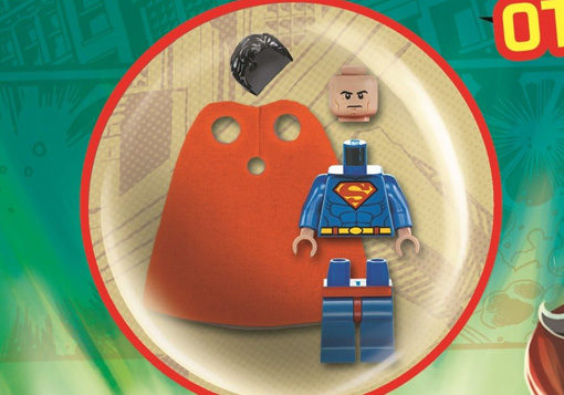 Close up of Lego Superman Minifigure