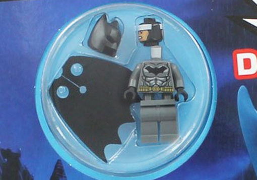 Close up image of the Lego Batman Minifigure included with the activity book